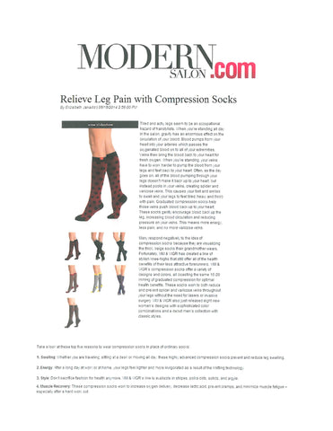 article from Modern Salon.com about relieving the leg pain using compression socks