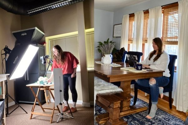 Jessica working as a photographer and at a desk