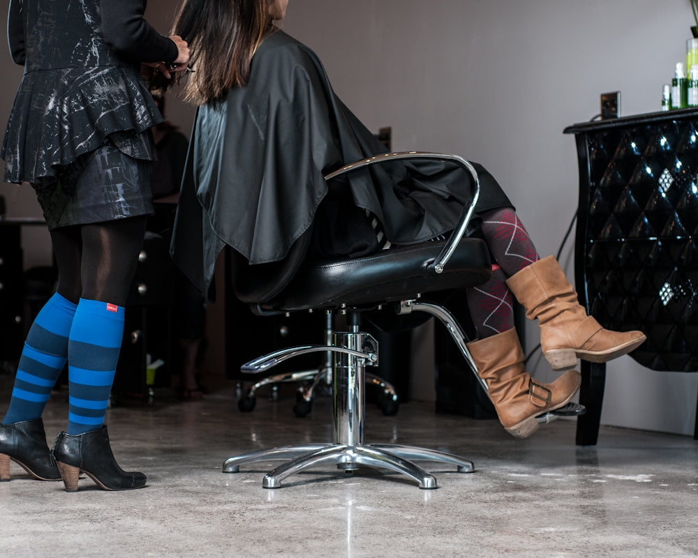 Compression socks for hairstylists
