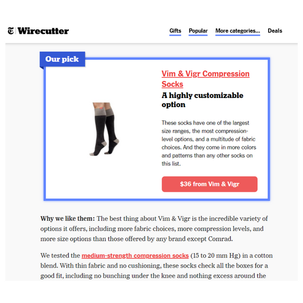 NY Times Wirecutter Best Compression Socks
