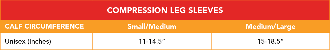 Compression Leg Sleeves Size Chart - VIM & VIGR