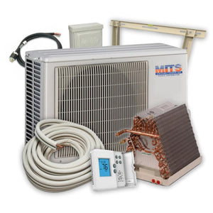 MITS Full Air Conditioning System Package 1 Ton 19 SEER Condensing Unit (A-Coil, Disconnect Box, Thermostat, Wall Bracket, Line Set, Whip)