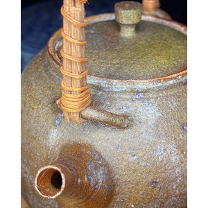 Wood Fired/ Bamboo Handle Ceramic Handmade Clay Kettle