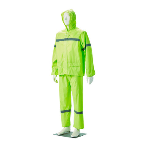Dromex Rubberised Rain Suit (with Reflective) - Lime