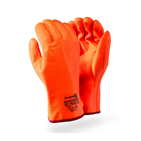 Dromex Freezer PVC Gloves (Open Cuff) - Orange