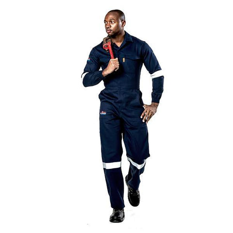 Dromex D59 Reflective SABS Flame & Acid Boilersuit - Navy