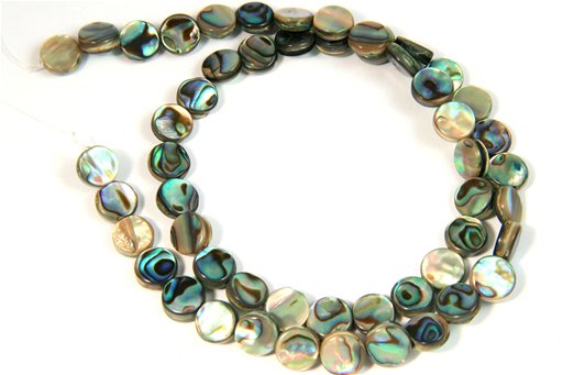 Abalone, 8mm, Coin Shape Beads