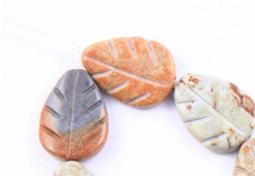 African Picasso Jasper, 10x20mm, Carved Leaf Shape Beads