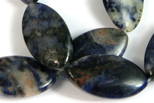 African Sodalite, 16x28mm, Marquis Shape Beads