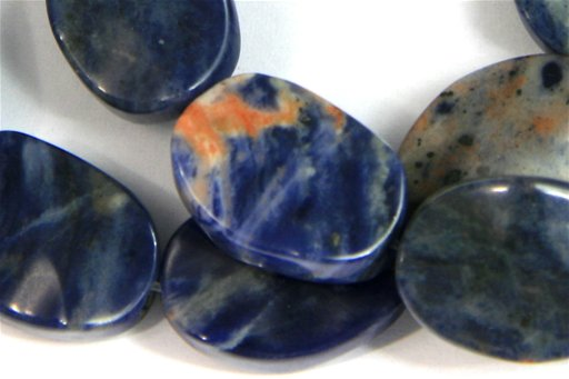 African Sodalite, 13x18mm, Wavy Oval Shape Beads