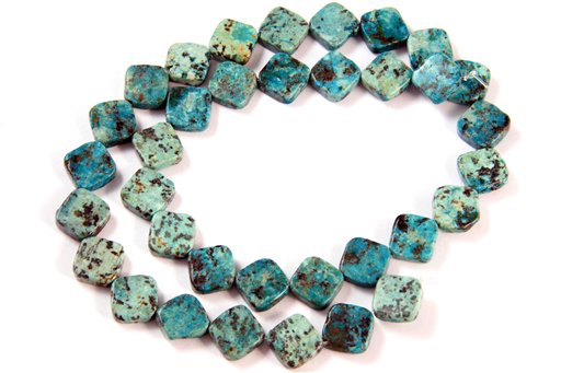 African Turquoise, 10mm, Flat Diamond Shape Beads