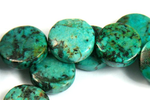 African Turquoise, 14mm, Coin Shape Beads