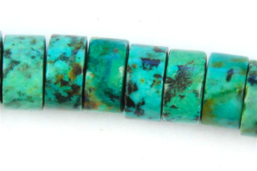 African Turquoise, 6x10mm, Heishi Shape Beads