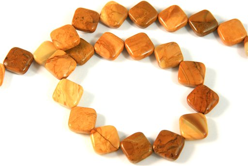 African Walnut Jasper, 12mm, Puff Diamond Shape Beads