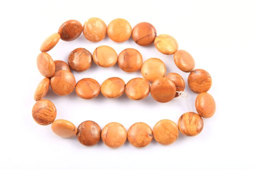 African Walnut Jasper, 14mm, Coin Shape Beads