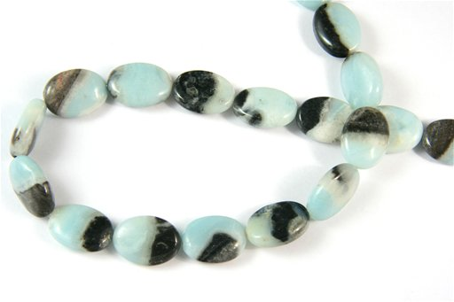 Amazonite with Pyrite, 13x18mm, Oval Shape Beads