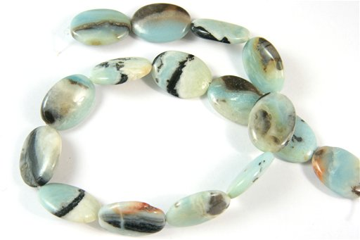 Amazonite with Pyrite, 15x25mm, Oval Shape Beads