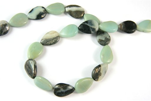 Amazonite with Pyrite, 12x18mm, Pear Shape Beads