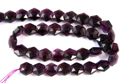 Amethyst (AA), 10mm, Faceted Hexagon Shape Beads