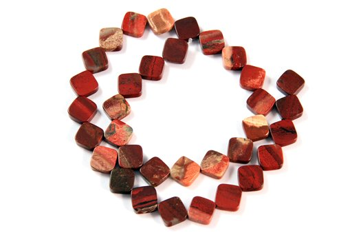 Apple Jasper, 10mm, Flat Diamond Shape Beads