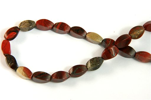 Apple Jasper, 6x12mm, Twisted Rice Shape Beads