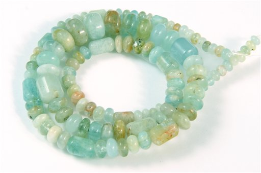 Aquamarine, 3-10mm, Barrel Rondelle Assorted Shape Beads