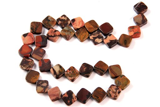 Autumn Jasper, 10mm, Flat Diamond Shape Beads