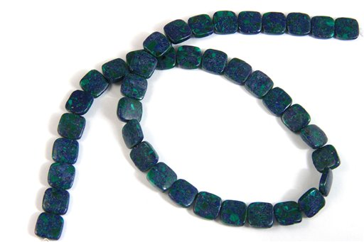 Azurite, 10mm, Flat Square Shape Beads