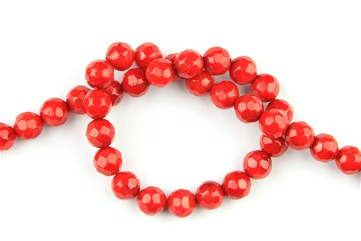 Bamboo Coral (Red), 8mm, Faceted Round Shape Beads