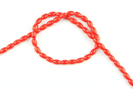 Bamboo Coral (Red), 4x6mm, Rice Shape Beads