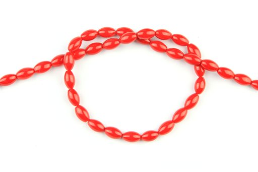 Bamboo Coral (Red), 5x8mm, Rice Shape Beads