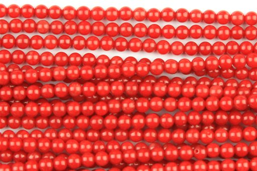 Bamboo Coral (Red), 3mm, Round Shape Beads