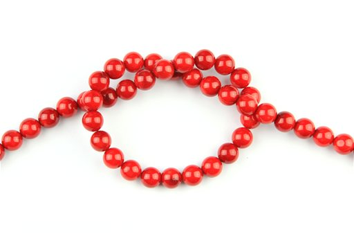 Bamboo Coral (Red), 8mm, Round Shape Beads