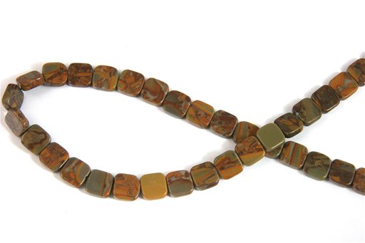 Bamboo Jasper, 10mm, Flat Square Shape Beads