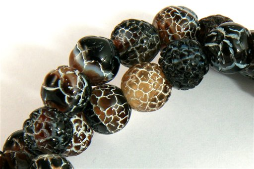Black Agate Weathering, 8mm, Round Shape Beads