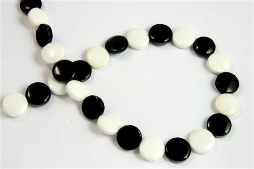 Black and White Agate, 14mm, Coin Shape Beads