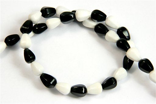 Black and White Agate, 7x10mm, Faceted Tear Drop Shape Beads