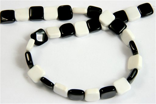 Black and White Agate, 12mm, Square Shape Beads