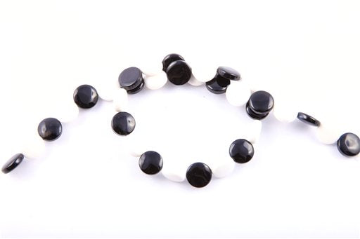 Black and White Agate, 12mm, Coin Shape Beads