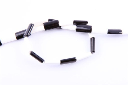 Black and White Agate, 8x16mm, Rectangular Shape Beads