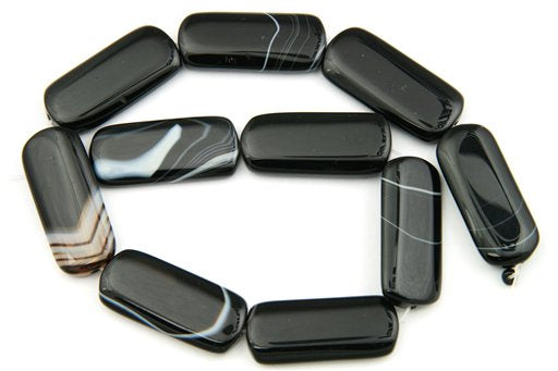 Black Banded Agate, 17x40mm, Rectangle Shape Beads