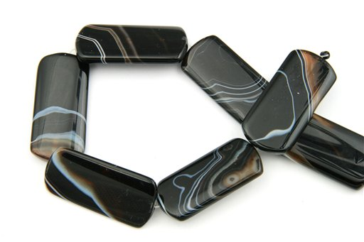Black Banded Agate, 24x50mm, Rectangle Shape Beads