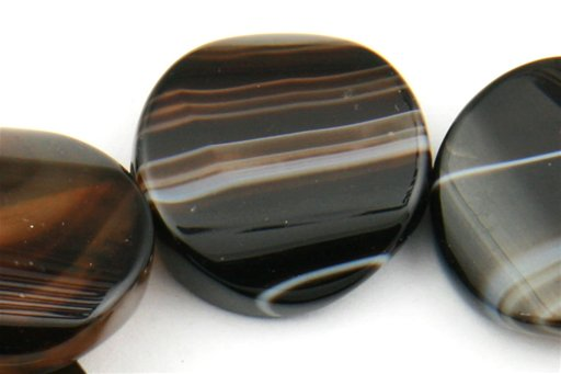Black Banded Agate, 20mm, Twisted Coin Shape Beads