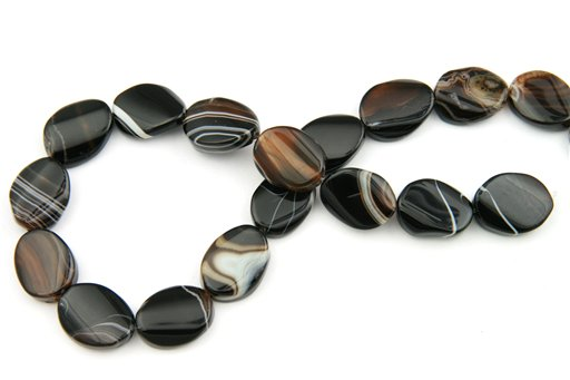 Black Banded Agate, 15x20mm, Twisted Oval Shape Beads