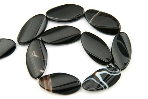 Black Banded Agate, 22x40mm, Twisted Oval Shape Beads