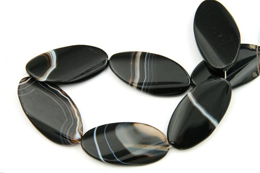 Black Banded Agate, 26x50mm, Twisted Oval Shape Beads