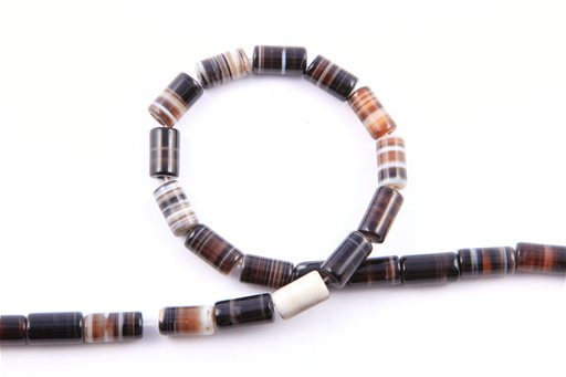 Black Banded Agate, 8x13mm, Tube Shape Beads
