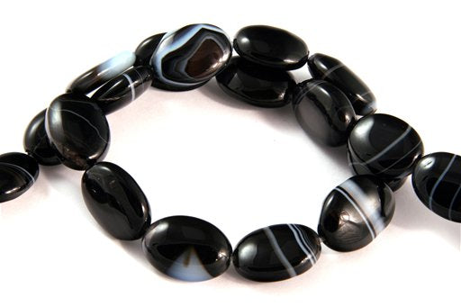 Black Banded Agate, 15x20mm, Oval Shape Beads