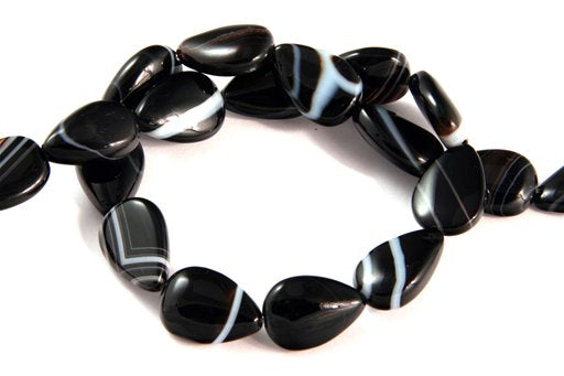 Black Banded Agate, 10x14mm, Pear Shape Beads