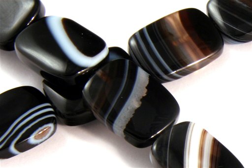 Black Banded Agate, 13x18mm, Rectangle Shape Beads